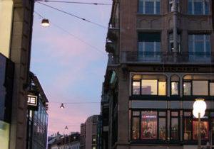 Abendrot und Stadtgewusel